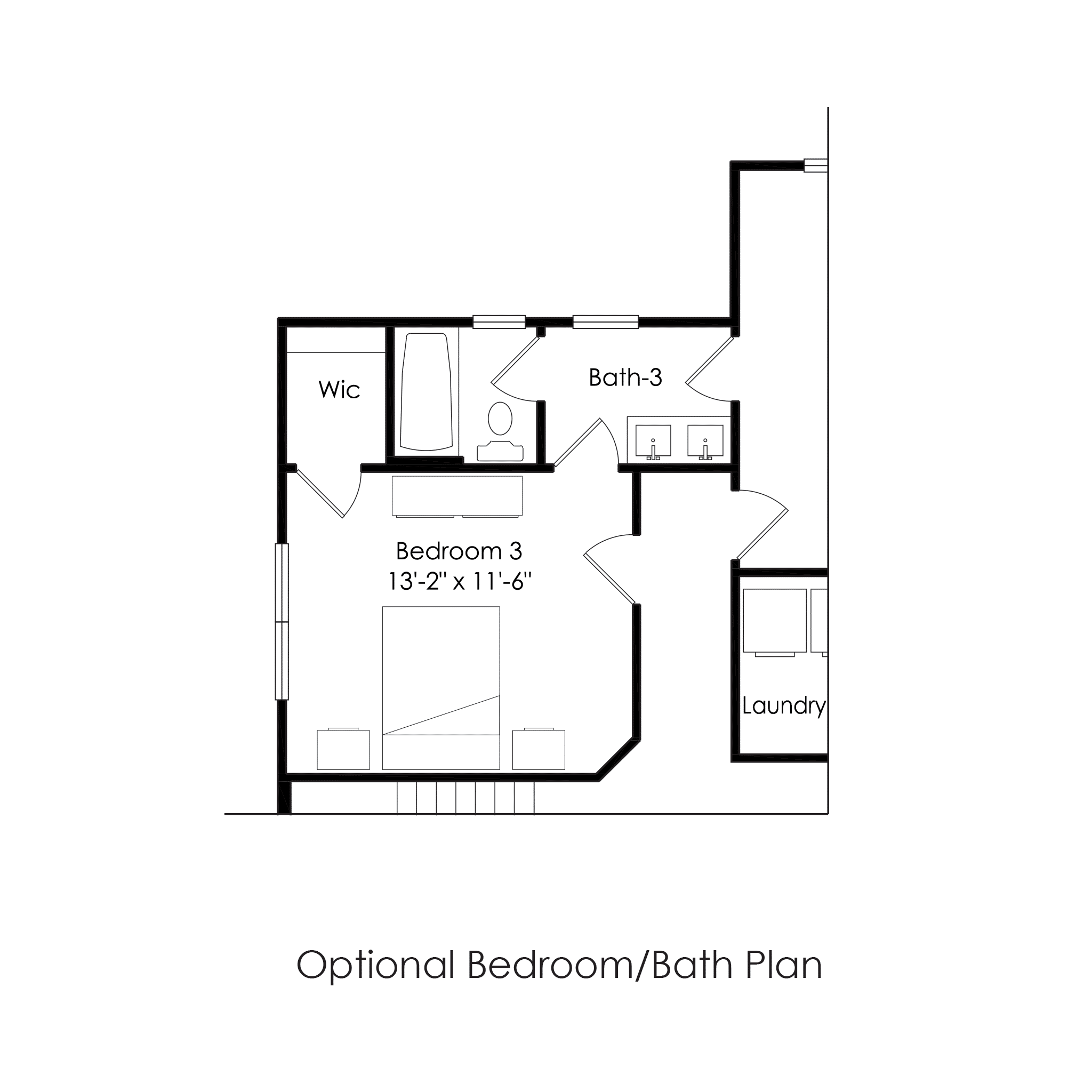 Second Floor – Optional Bedroom Bath Plan
