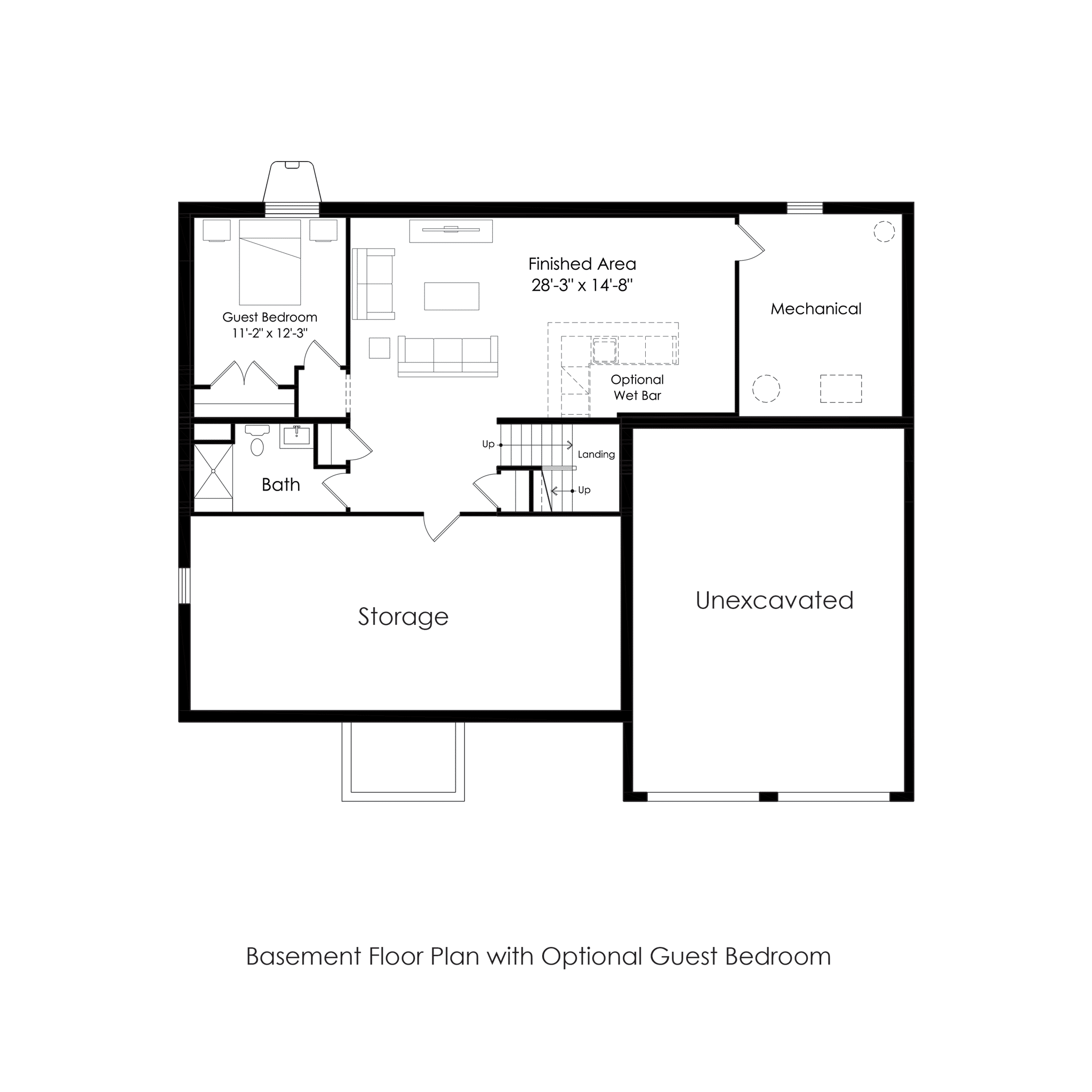 Optional Finished Basement with Guest Suite