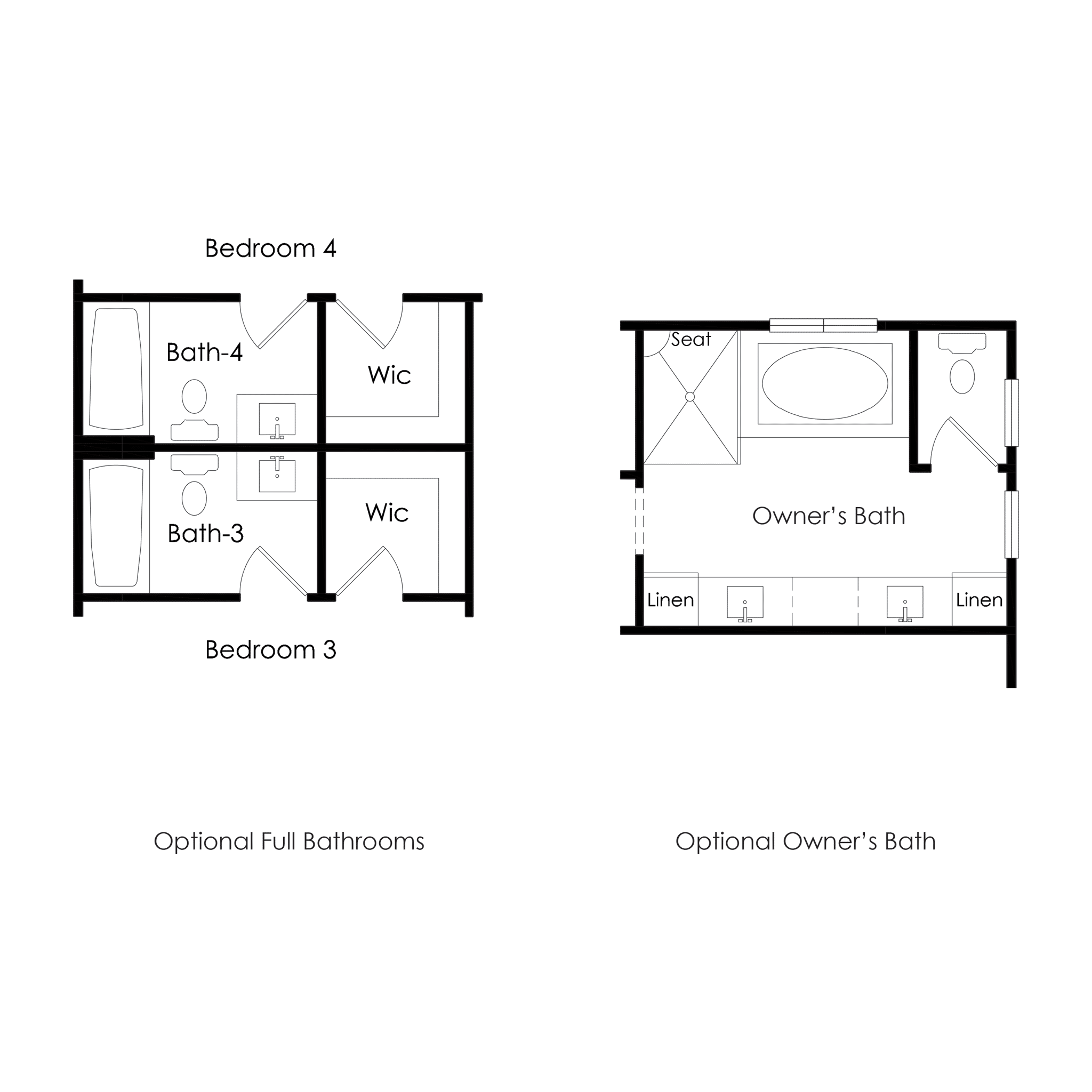Second Floor – Optional Bathrooms